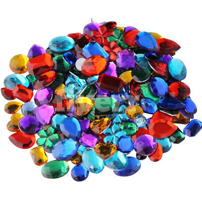 70g Acrylic Gems Jewels Rhinestone Mixed Colours Sizes Shapes Kids Arts Craft