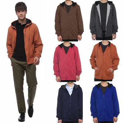 HOT Plain Mens American Fleece Zip Up Hoody Jacket Sweatshirt Hooded Zipper Tops