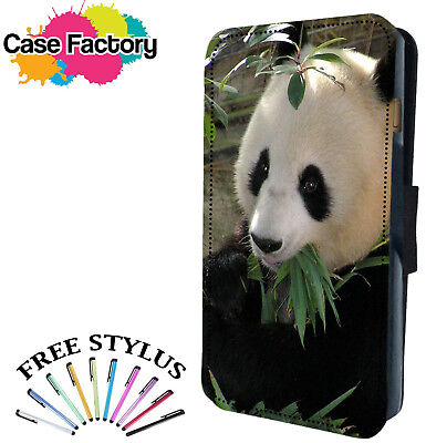 CUTE PANDA BEAR EATING LEAFS - Leather Flip Wallet Phone Case Cover