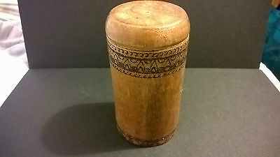 Antique turned English oak wooden arts & craft period box Vintage decorated wood