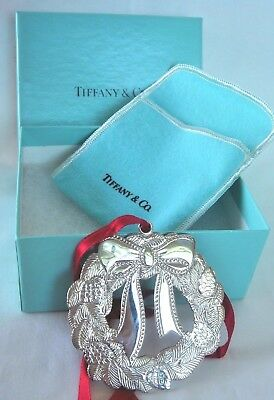 Tiffany & Co. Solid .925 Sterling Silver Christmas Wreath Ornament, 49.1 grams