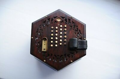 Lachenal & Co English Concertina 1860's with bag and book