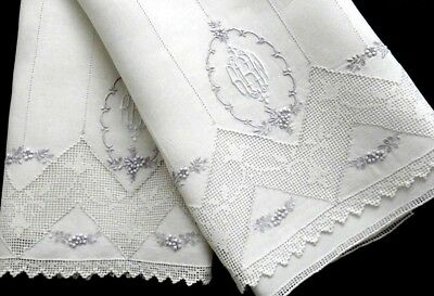 "Appenzell Embroidery Linen Guest Towels ""RRW"" Monogram Buratto & Floral Antique"