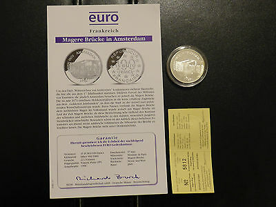 Frankreich 100 Francs/15 Euro 1996 Magere Brücke in Amsterdam, Silber, PP