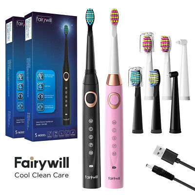 Fairywill Sonic Electric Toothbrush Rechargeable 2Replacement Head Pink Or Black
