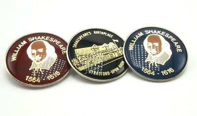 WILLIAM SHAKESPEARE VINTAGE Enamel Pins Buttons Lot Of 3 Birthplace