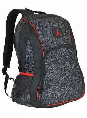 e61a44d4d706 Nike Air Jordan Backpack Laptop Sleeves Side Pockets Padded Black Red  9A1223-391