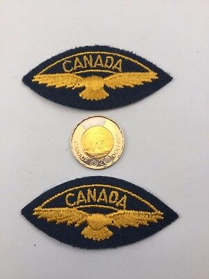 2 Royal Canadian Air Force Blue Wings Patches Badges Insignia Iron-on / Sew RCAF