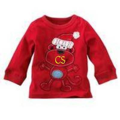 NWT-Boys Jumping Beans Christmas Red Monkey Long Sleeve Shirt-3 mths, 6, 9 mths