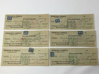 Lot of 6 1929 Indiana Cancelled Bank Checks with Canada 2 Cent Excise Tax Stamps