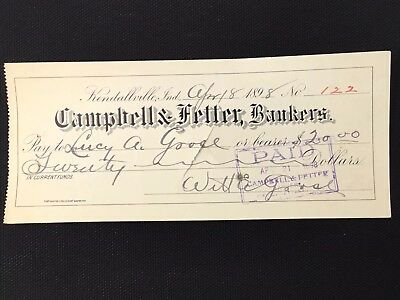 1898 Cancelled Bank Check Made Out To LUCY GOOSE Funny Humorous Name Joke