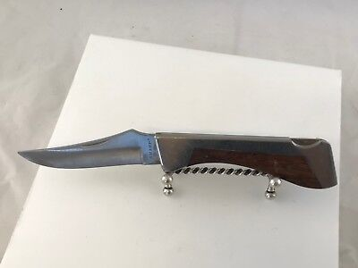 Sharp 300 Vintage Pocket Knife Lockback Folder W/ Inlaid Wood Handle Japan Made