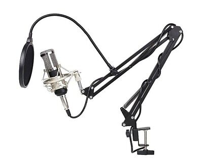 mvpower condenser microphone with scissor arm, stand, pop filter 6 pcs kit
