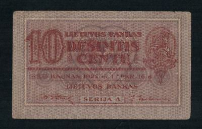 LITHUANIA p10a: 10 CENTU BANKNOTE FROM 1922 VERY RARE