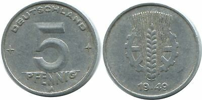 5 Pfennig 1949 A Ddr Germany @ae019.1Ds