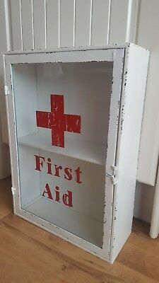 Large Wall Hanging Vintage Style Metal First Aid Cabinet: 33x13x47cm: Brand New