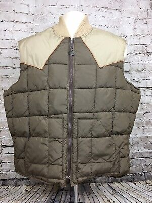Vintage Walls Blizzard Pruf Insulated Apparel Vest Brown Tan Front Zip Hunting