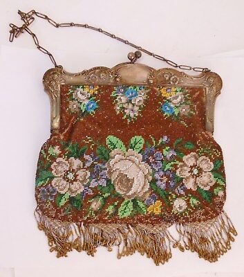 Great Microbead Purse with Repousse German Silver Top