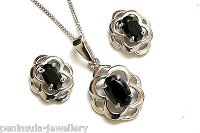 9ct White Gold Black CZ Celtic Pendant and Earring Set Made in UK Gift Boxed