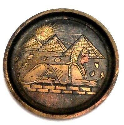 Antique Egypt Egyptian Brass Wall Plate Dish Hand Made Sphinx and pyramids art