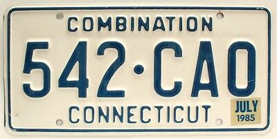 Connecticut 1985 Combination Semi-Truck License Plate, 542-CAO, High Quality