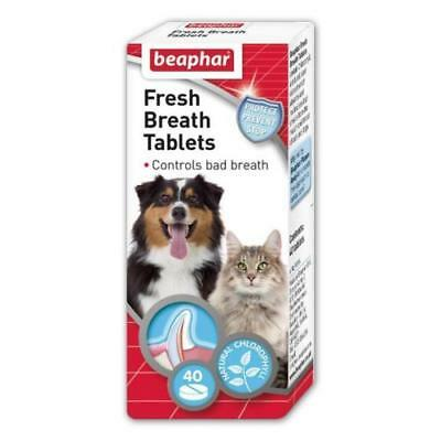 Beaphar Dog Cat FRESH BREATH TABLETS Chlorophyll Dental Oral Care Bad Breath 40s