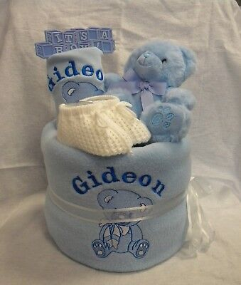Personalised nappy cake baby hamper baby shower gift pink blue neutral