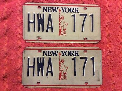 New York Statue of Liberty License Plate Pair/Set with Tag # HWA 171-DMV clear
