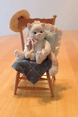 """CALICO KITTENS """"Waiting for a Friend Like You"""" 1992 Cat in Chair"""