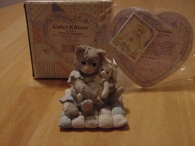 "CALICO KITTENS ""You're So Huggable"" Kitty Hugging Bunny Figurine Cat Easter"