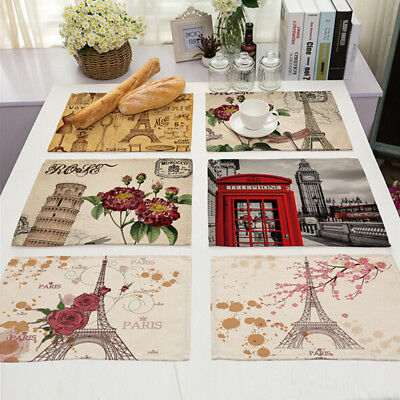 Eiffel Tower Dining Table Plate Placemats Insulation Coasters Decor