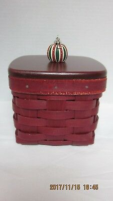 Longaberger RED Christmas Holiday Gift Basket and Lid (LB1)