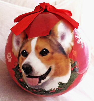 Welsh CORGI Dog Christmas Ball Ornaments Tree Decoration Shatter Proof RED Gift
