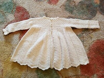 Vintage Baby Girl  Cardigan Sweater Cream Color Long Sleeve
