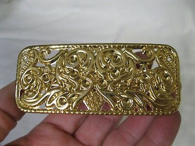 Vtg New Gold Lightweight Rectangle Metal Hair Barrette French Clip Ornate 80's