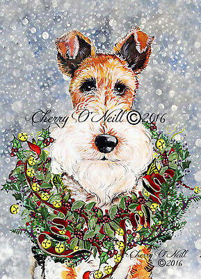 Fox Terrier Terrier Winter Christmas Small Poster by Cherry O'Neill to Frame