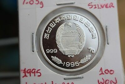 Korea democratic republic 1995 100 won pure silver coin - Adele Penguins