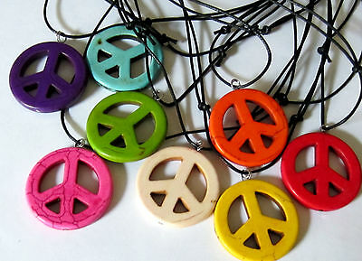 PEACE SIGN PENDANT BLUE STONE ADJUST CORD NECKLACE  mens womens Hippie 70s new
