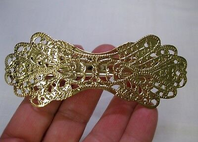 Vtg New Gold Lightweight Victorian Metal Hair Barrette French Clip 1980's Nos