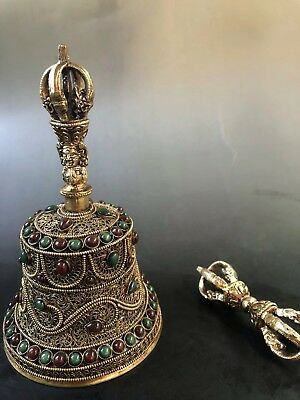 China Antique Tibet Tibetan silver inlaid gem rattle Bells