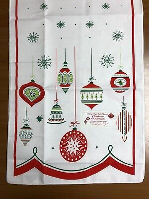 """Christmas Ornaments Vintage Style Table Runner16""""X54"""" Red and White Kitchen"""