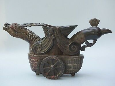 Chinese Exquisite Hand-arved Dragon Phoenix carving OX horn cup statue