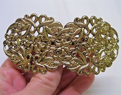 Vtg New Gold Lightweight Ornate Flower Design Hair Barrette French Clip 70's 80s