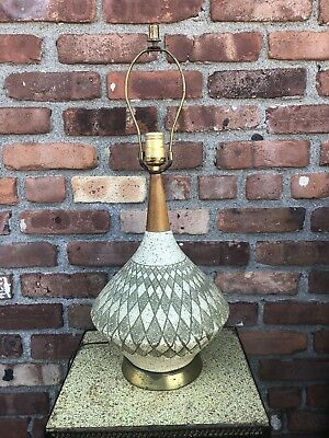 Vintage Mid Century Danish Modern Diamond Pattern Genie Table Lamp 1950s 1960s