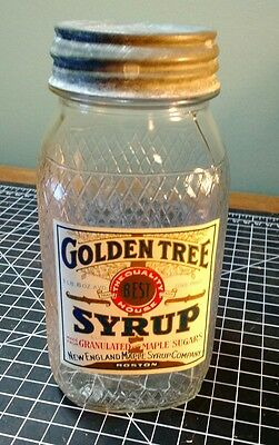 Vintage Golden Tree Syrup Ball Jar with Label -  Embossed Glass