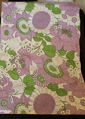 retro vintage contact stick on wallpaper ish PURPLE FLOWERS TOPS shelf covering