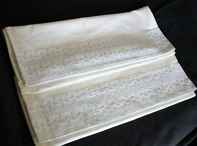 Vintage blue embroidered cotton material white pillowcase pair unused