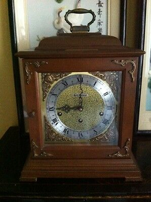 Seth Thomas Mantle Chiming Clock With Key Wood/Brass Needs Repair1976