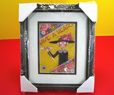 """Mary Engelbreit """"have A Heart"""" Print Framed And Matted - New In Package 1996"""