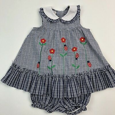 Vtg 90s Samara Toddler Sleeveless Dress Tunic Bloomers Blue Checked Ladybug 4T